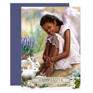 Happy Easter. Little Angel with Bunnies Flat Cards
