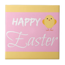 Happy Easter Little Chick Yellow Ceramic Tile