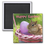 Happy Easter Little Chipmunk 2 Inch Square Magnet