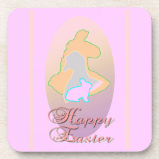 Happy Easter Llama Easter Bunny Easter Goose Beverage Coasters