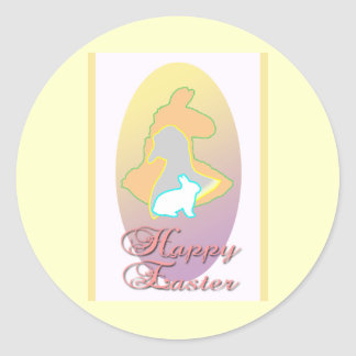 Happy Easter Llama Easter Bunny Easter Goose Classic Round Sticker
