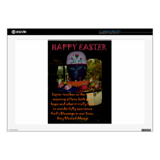 """Happy Easter Love Faith and Hope Wishes 17"""" Laptop Skin"""