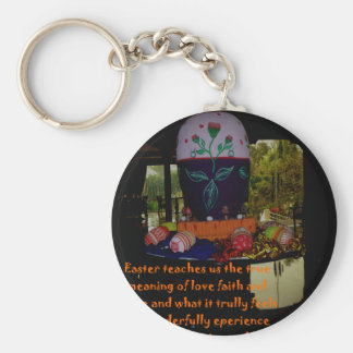 Happy Easter Love Faith and Hope Wishes Basic Round Button Keychain