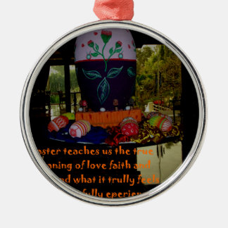 Happy Easter Love Faith and Hope Wishes Metal Ornament