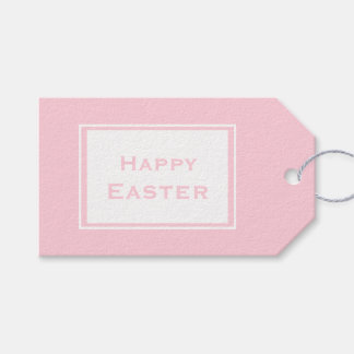 Happy Easter   Minimalistic Pastel Pink Gift Tags