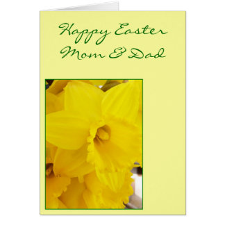 Happy Easter Mom And Dad Card - Daffodil