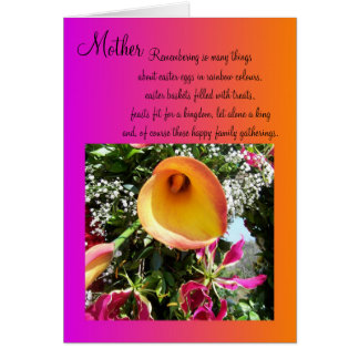 Happy Easter Mother Card - Orange Lilly