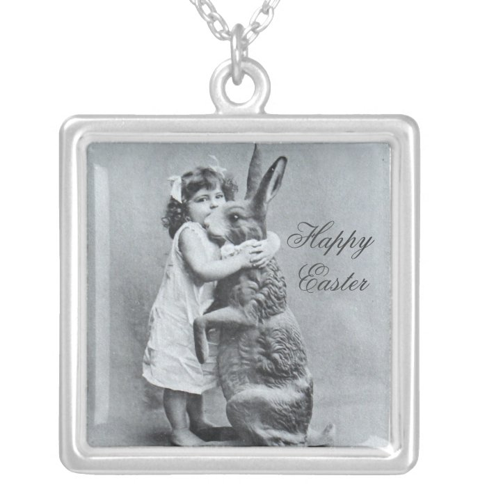 Happy Easter Necklace Gift Antique Bunny Postcard