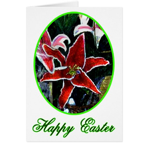 Happy Easter o Green Tiger Lily The MUSEUM Zazzle Card