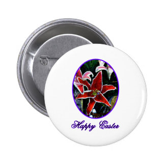 Happy Easter o Purple Tiger Lily The MUSEUM Zazzle Pinback Buttons