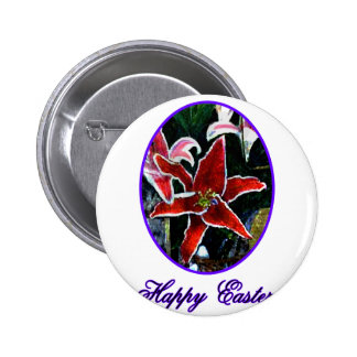 Happy Easter o Purple Tiger Lily The MUSEUM Zazzle Buttons