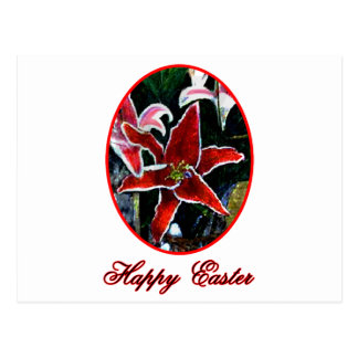 Happy Easter o Red Tiger Lily The MUSEUM Zazzle Gi Postcards