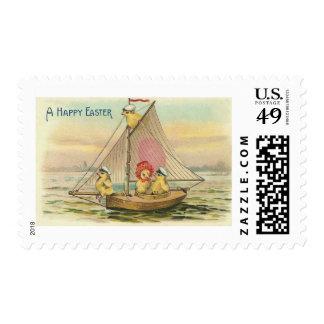 Happy Easter On A Sailboat Vintage Stamp