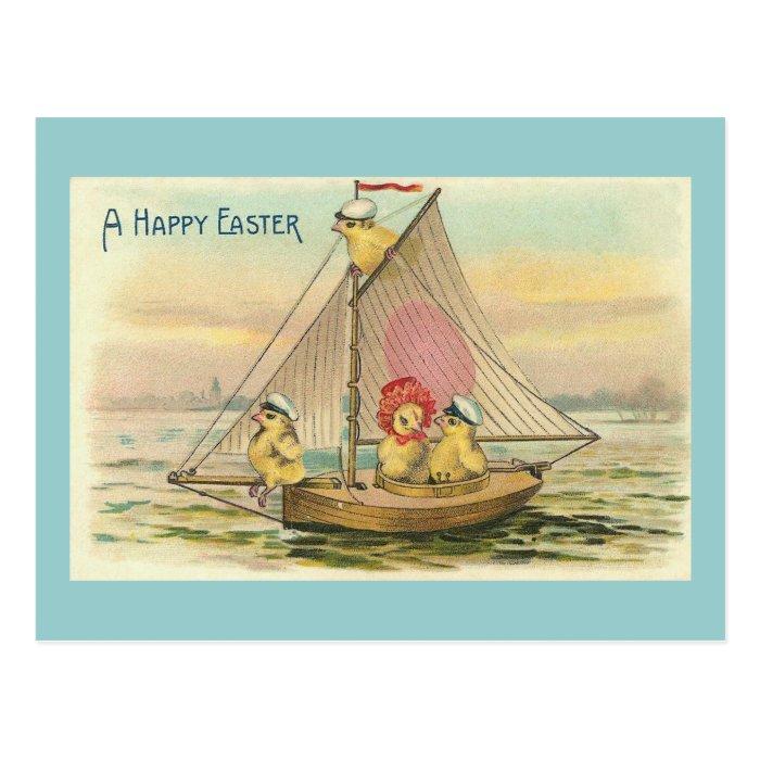 Happy Easter On A Sailboat Vintage Postcard