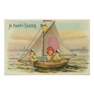 Happy Easter On A Sailboat Vintage Poster
