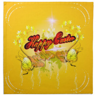 Happy easter on soft yelow background cloth napkins