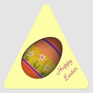"""""""Happy Easter"""" - Orange and Yellow Egg Triangle Sticker"""