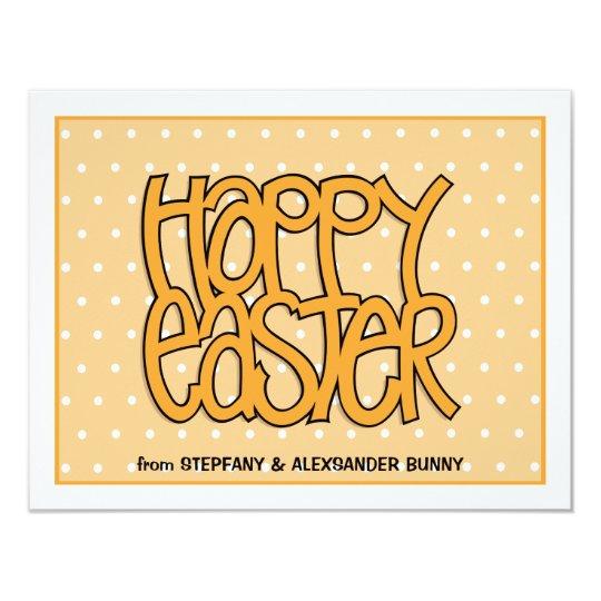 Happy Easter orange flat Easter Note Card