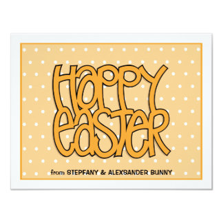 Happy Easter orange flat Easter Note Card
