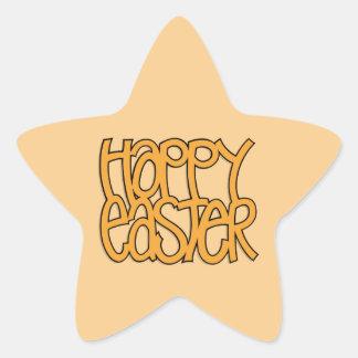 Happy Easter orange Star Sticker
