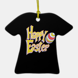 Happy Easter Double-Sided T-Shirt Ceramic Christmas Ornament