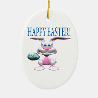 Happy Easter Double-Sided Oval Ceramic Christmas Ornament