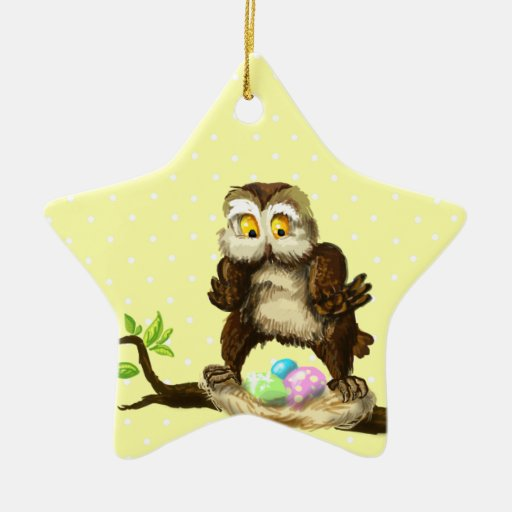 Happy Easter owl Double-Sided Star Ceramic Christmas Ornament