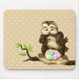 Happy Easter owl Mouse Pad