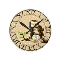 Happy Easter owl Round Clock
