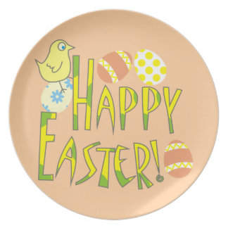 Happy Easter Pastel Chick and Eggs Plates