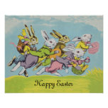 Happy Easter Pastel Running Rabbits Poster