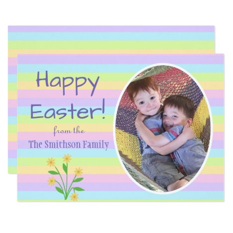 Happy Easter Pastel Striped Photo Card