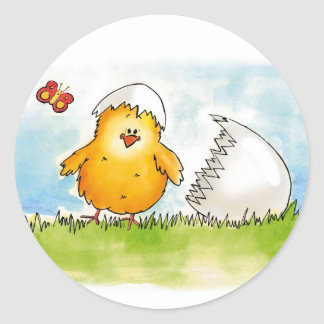 Happy Easter- Personalize with name - Chick just h Classic Round Sticker