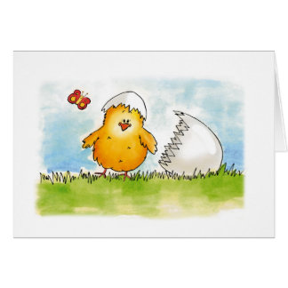 Happy Easter- Personalize with name - Chick just h Greeting Card