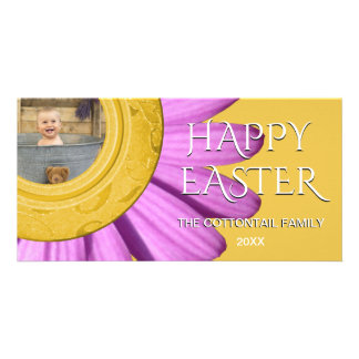 Happy Easter Photo   Daisy Spring Purple Yellow Card