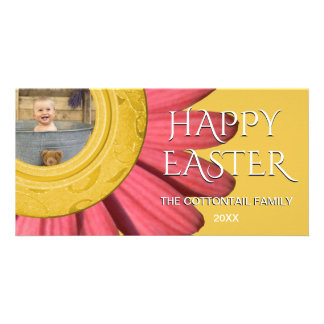 Happy Easter Photo | Floral Daisy Petals Pink Gold Card