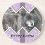 Happy Easter Photo-Paw Prints Beverage Coaster