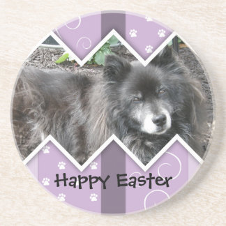 Happy Easter Photo-Paw Prints Beverage Coaster