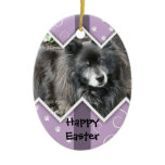 Happy Easter Photo-Paw Prints Ceramic Ornament