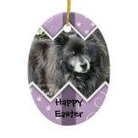 Happy Easter Photo-Paw Prints Ceramic Ornament