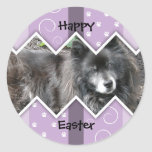 Happy Easter Photo-Paw Prints Classic Round Sticker