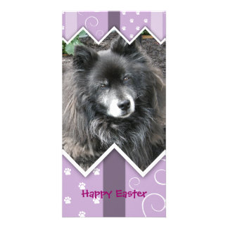 Happy Easter Photo-Paw Prints Custom Photo Card