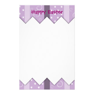 Happy Easter Photo-Paw Prints Custom Stationery