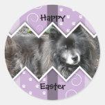 Happy Easter Photo-Paw Prints Round Sticker