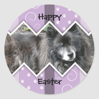 Happy Easter Photo-Paw Prints Round Sticker