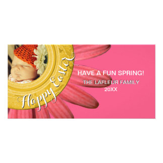 Happy Easter Photo   Spring Daisy Pink Gold Card