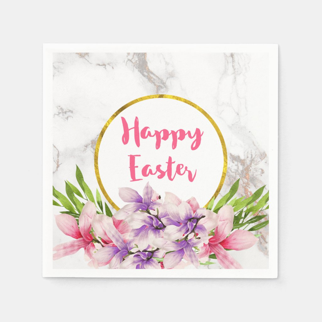 Happy Easter  Pink and Purple Watercolor Magnolias Paper Napkin
