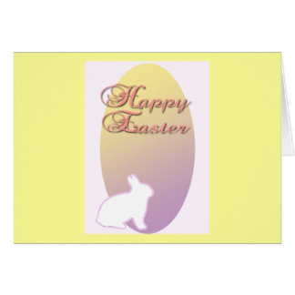 Happy Easter Pink and Yellow Easter Bunny Greeting Card