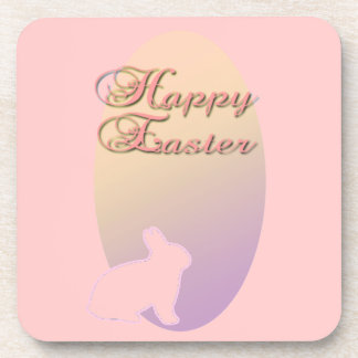 Happy Easter Pink and Yellow Easter Bunny Drink Coaster