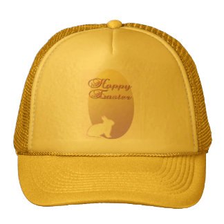 Happy Easter Pink and Yellow Easter Bunny Trucker Hat